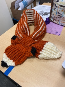 completed fox scarf minus the eyes